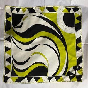 EMILIO PUCCI Square Silk Scarf Black/Lime/White